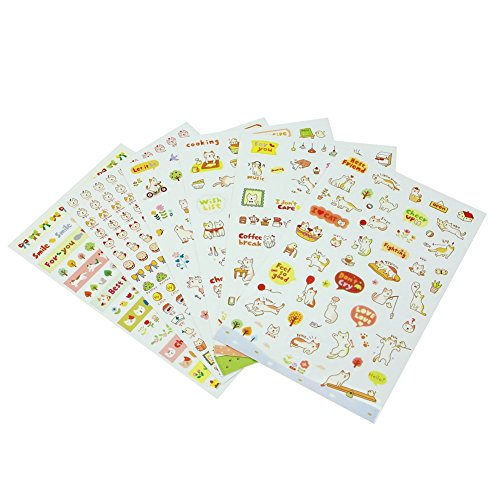 Fablcrew Niedlich Transparent Sticker Set Decor Aufkleber Kinder DIY Scrapbooking Notizbuch Diary Zeitplan Foto Album 6 Blatt