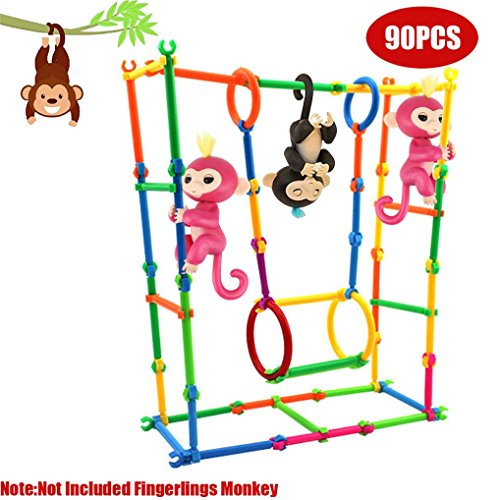 dschungel gym Original Jungle Gym Spielset, Gusspower Tragbare Affenstangen Klettergerüst, Bauen Sie Ihre eigenen Spielplatz erstellen, Gebäude und Steigen Affe DIY Haus, zufällige Farbe (90Pc)