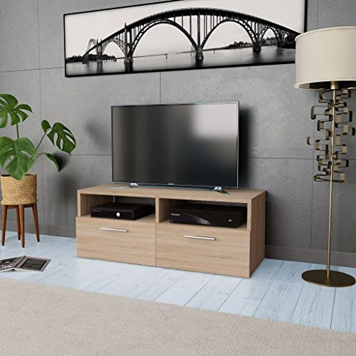 Festnight Meuble TV Moderne avec Etagère Compartiment en Aggloméré 95 x 35 x 36 cm Chêne