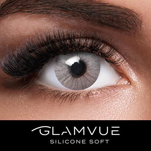 GLAMVUE SILICONE SOFT Sydney Grey + Behälter I Sehr stark deckende graue natürliche Kontaktlinsen farbig I 1 Paar (2 Stück) I DIA 14.00 I ohne Stärke -