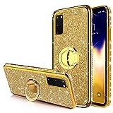 Surakey Compatibel met Samsung Galaxy S20 hoes tas met 360 graden ringstandaard Shiny Shiny Shiny Bling Glitter Diamond telefoonhoes transparant TPU silicone hoesje beschermhoes voor Galaxy S20, goud
