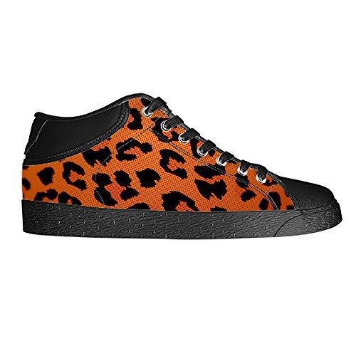 Custom leopardo Print Men s Canvas Shoes Scarpe Lace Up High Top Sneakers a vela panno scarpe Scarpe di tela sneakers d
