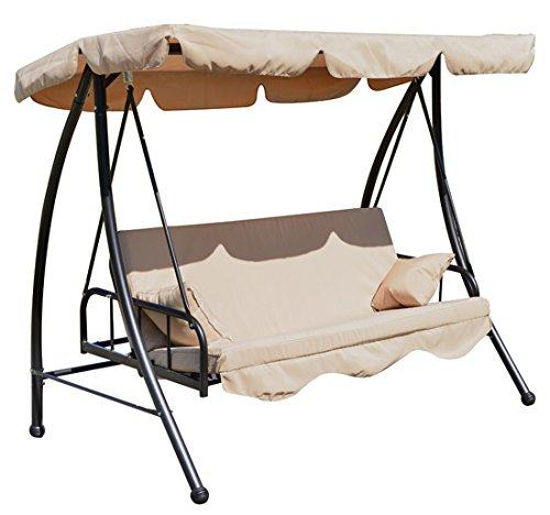 Balancelle balancoire fauteuil lit de jardin convertible en acier 2 places charge max. 360kg creme 92