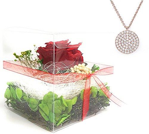 Rosen-te-amo Rosen-Box Set INKLUSIVE Schmuck – Geschenk für Freundin aus ECHTE Rose in der Box, Flower-box haltbare Rose 3 Jahre lang haltbar ohne Wasser und Halskette mit Anhänger als Valentinstag Geschenk