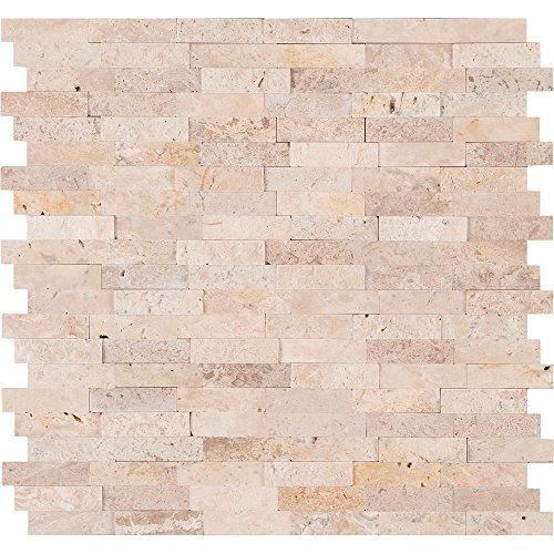 Vogue Abziehen & Aufkleben Elfenbein Cream Light Travertin geschliffen und Split Face Mix Stein Muster Mosaiken, für Küche backsplashes, Wand Kamin Tile 12Lx12W beige -