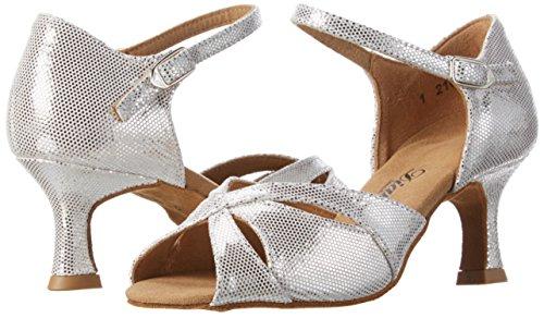 Diamant Damen Tanzschuhe 144-077-246 Standard & Latein, Silber (Weiß-Silber), 42 EU -