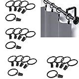 Qiorange 20 Stk. 35mm Durchmesser Mehrzweck Vorhang Clip Gardinenstange Gardinenringe Vorhangringe mit Clips Schwarz (20 Pcs Schwarz Typ A)