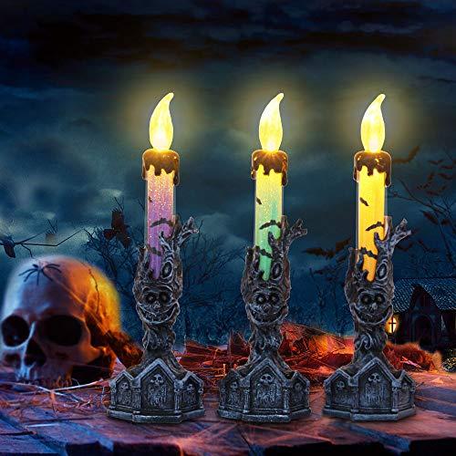 Halloween-Kerzenlichter RIP Tombstone und Baum Monster-Sockel für Zuhause, Kamin, Esstisch, Dekoration, inkl. Knopfbatterie, 3 Stück