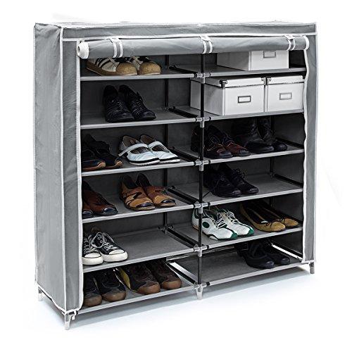 Relaxdays Schuhschrank VALENTIN breit HxBxT: 108,5 x 114 x 30,5cm Schuhregal mit 7 Ablagen für 36...