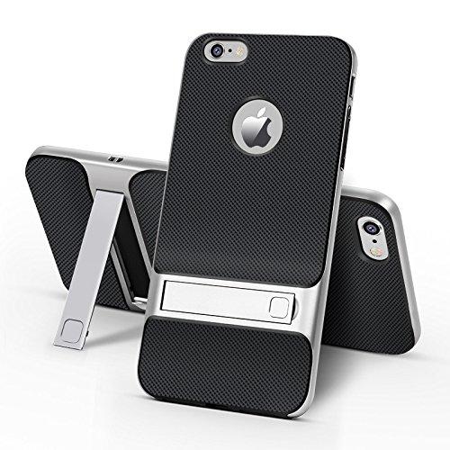 BCIT iPhone 6 Plus Custodia - ibrida Morbido resistente agli urti + Bumper Frame Dual Layer Case con Supporto di protezione per iPhone 6 Plus - Oro Argento