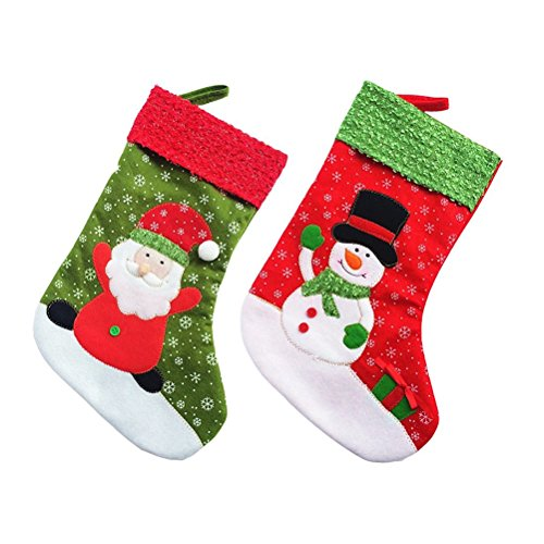 Pixnor 2pcs Weihnachts-Strumpf Socke hängen Weihnachten Dekoration Weihnachtsmann Schneemann
