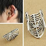 Silver Spiderman Web Cuff Clip Earring Costume Fashion Jewellery With Gift bag - 3 FOR 2 ON ALL JEWELLERY