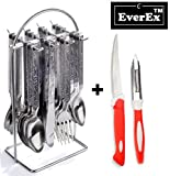 EverEx™ stainless steel cutlery set / spoon and fork set ( 24 pcs ) with stand for kitchen and dining table including extra vegetable knife and peelar. (*Made in India)
