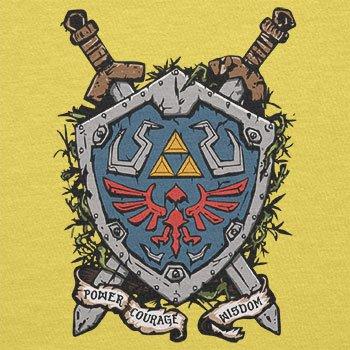 NERDO - Power Courage Wisdom Shield - Herren T-Shirt Gelb
