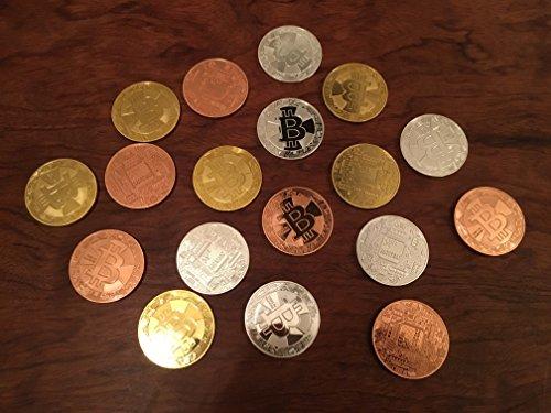 3er Set Bitcoin Münzen / Angreifbare Physische Physikalische Bitcoins – Dekomünzen Krypto-Muster BTC SET 40mm Gold, Silber & Kupfer farbig im Set – Mit SCHUTZKAPSEL - 4