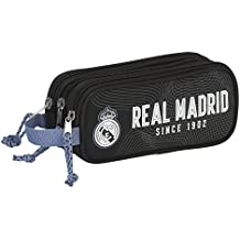 Real Madrid - Portatodo triple, 22 x 9 x 3 cm, color negro (Safta 811757635)