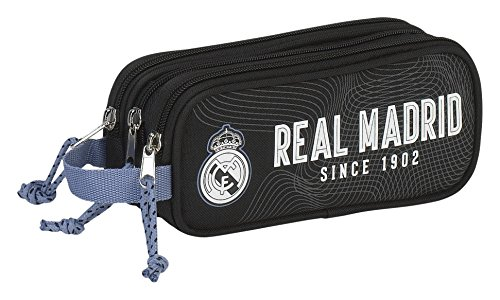 Real Madrid Estuche portatodo Triple (SAFTA 811757635), Color Negro, ampUacutenica