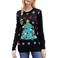 Jersey para Mujeres de Invierno cálido Cuello Redondo, suéter de Manga Larga Casual Navidad patrón Jerseys Tops