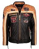 Top Gun Herren Lederjacke Mit Stickereien Tg-1005 Black/orange/Offwhite,XL