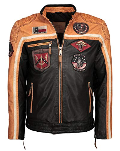 Top Gun Herren Lederjacke Mit Stickereien Tg-1005 Black/orange/Offwhite,XL -