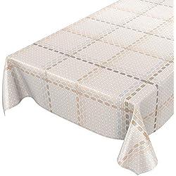 ANRO Mantel hule Cera Mantel encerado mantel textil rayas limpiar. trenzado, toalla, beige, 180 x 140cm