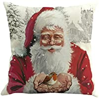 "Merry Christmas Pillow Cases,Wanshop® Christmas Printing Dyeing Sofa Bed Home Decor Pillow Cover Cushion Cover 18""*18"" (D)"