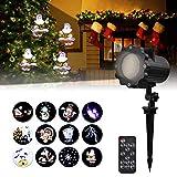 Led Projektionslampe Außen, Viugreum Led Projektor Weihnachtsbeleuchtung mit 12 Motiven, Wasserdicht IP65 Projektor Weihnachten für Karneval, Festen und Dekoration