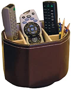 Luxury Faux Leather Revolving Remote Storage Caddy