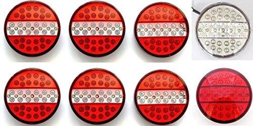24/7Auto, fanali LED posteriori universali, tipo hamburger, 8da 24V, luci fendinebbia e di retromarcia per camion, rimorchi, caravan, trattori, furgoni