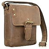 STILORD 'Alessio' Leder Messenger Bag Männer klein Vintage Umhängetasche Herrentasche Tablettasche Schultertasche aus echtem Leder, Farbe:Used Look - braun