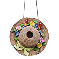 zenggp Hanging Hat Bird House Nest For Parrot Hamster Small Pet Cage Accessories Garden Ornament,A-Diameter10.6inch