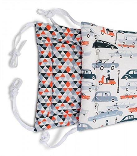 Baby Nestchen Bettumrandung in verschiedenen Designs 200 x 30 cm von baBice, Muster:Auto / Dreiecke