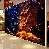 Menschen Drachen Fototapete, Hintergrund TV Boden Wohnzimmer 3D große Wandbild Tapete, 320 * 480