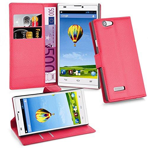 Cadorabo - Book Style Hülle für ZTE BLADE L2 - Case Cover Schutzhülle Etui Tasche mit Standfunktion und Kartenfach in KARMIN-ROT