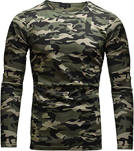 Crone Essential Basic Herren Slim Fit Langarm Rundhals Shirt Longsleeve T-Shirt Sweatshirt in vielen Farben (L, Camouflage) -