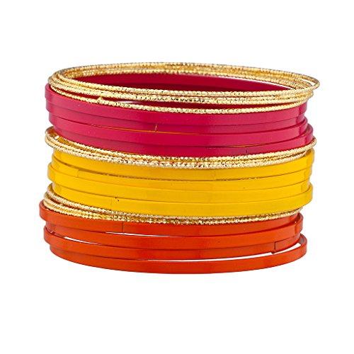 lux-accessori-viola-smalto-rosso-giallo-textured-multiple-bangle-set