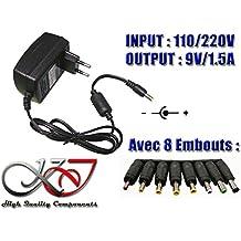 KALEA-INFORMATIQUE © - Alimentation Externe Secteur 220V - Sortie 9V DC 1.5A - AVEC 8 EMBOUTS ADAPTABLES (1.35x3.50/1.70x4.00/1.70x4.80/1.70x5.50/2.50x5.50 avec broche/2.50x5.50/3.00x6.30/4.40x6.00 avec broche) - Remplacera une alimentation 9V 0.25A/0.5A/0.75A/1A/1.25A/1.5A