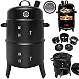 Deuba BBQ Smoker Upright Barrel Black Charcoal 3 in 1 Barbecue Grill Round