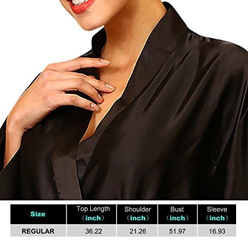 Dolamen Unisex Kimono Robe Femmes Homme, Femmes Chemises de nuit, Robe peignoir en satin de soie Robe de nuit , Buste 132cm, 51.97 pouces, grande taille pour tout le monde Noir