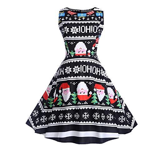 SEWORLD Damen Weihnachten Kleid, 2018 Damen Vintage Santa Weihnachten 1950er Jahre Retro Xmas Abend...