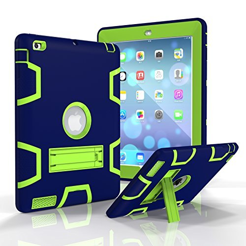 iPad 2/3/4Fall, beimu Ständer Funktion [Tire Serie] Rugged Shock absorbierenden Drei Schicht Hard Gummi Schutz Case Cover mit Stylus für Apple iPad 2./3./4. Generation, 9.7 inch, Navy
