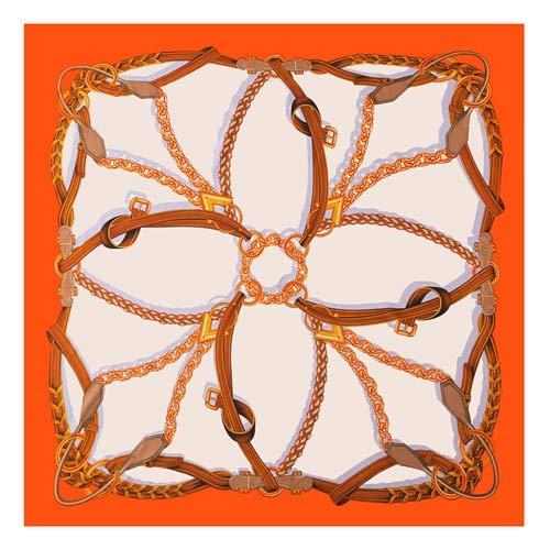 AHUIOPL Reine Seide Frauen Große Schals Stolen Schmelzen Kette Drucken Quadrat Schals Echarpes Foulards Femme Wrap s 130 * 130 cm, Orange