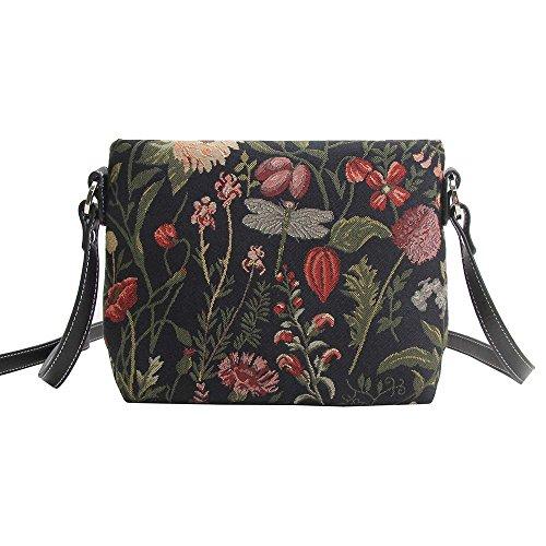 Modische Tapisserie Damen Schultertasche, Bodybag oder Messengertasche in Signare Blumen (Morgen Garten Schwarz) (Blume Morgen)