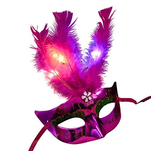 RYSTORE Damen Venezianischen Stil LED Maske Maskerade Fancy Party Prinzessin Feder Masken (Hot Pink) (Beängstigend Tier Halloween-kostüme)