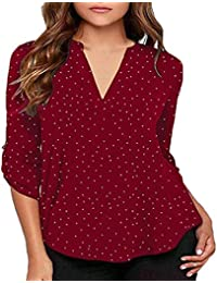 bf4ca983b4 CUTUDE Mujer Camiseta Manga Corta de Lunares con Cuello en Pico Top Manga  Corta Blusa Camisa