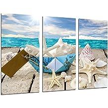 Cuadro Moderno Fotografico Paisaje Mar Vintage, Conchas, Caracolas, Playa, Arena, 97 x 62 cm, ref. 26482