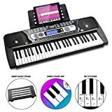 RockJam 54-Key Portable Digital Piano Keyboard with Music Stand and Interactive LCD Screen - Silver