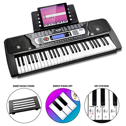La tastiera elettronica portatile RockJam 54 con schermo LCD interattivo include alimentatore, supporto per spartiti, adesivi per note chiave e applicazioni Simply Piano (RJ654)