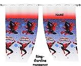 alles-meine.de GmbH 2 Stück _ Vorhänge / FERTIG - Gardinen aus Chiffon -  Ultimate Spider-Man  - incl. Name - je 140 * 240 cm lang - transparent Organza / Voile - für Fenster &..
