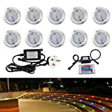 Colour Changing RGB LED Decking Lights Waterproof Outdoor Garden Pathway Lamp with Remote Controller Ideal for Kitchen Plinths, Patio Lighting, Stairs (Set of 10)